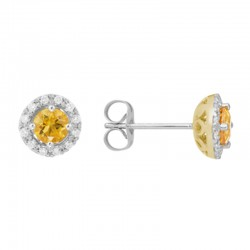 14K White Gold Citrine And Diamond Halo Stud Earrings, Round Diamonds  0.14Ctw