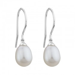 14K White Gold  8Mm Freshwater Pearl Drop Earrings