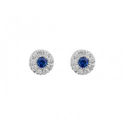 Lady's 14K White Gold  Stud Earrings w/0.14tw Sapphires & 0.15tw Round Diamonds