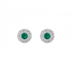 14K White Gold  Stud Earrings with 2=0.12tw Round Emeralds and 18=0.15tw Round Diamonds