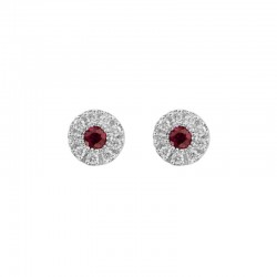 Lady's 14K White Gold  Stud Earrings w/0.14tw Rubies & 0.15tw Round Diamonds