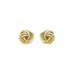 14K Yellow Gold Stud Earrings, Small Knots 7.5mm