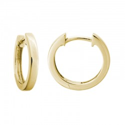 14K Yellow Gold  Hinged Hoop Earrings 2Mm X 14Mm
