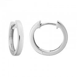 14K White Gold Small Hinged Hoop Earrings