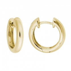 14K Yellow Gold  Hinged Hoop Earrings 3.1mm X 15.2mm