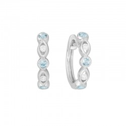 14K White Gold  Hinged Earrings with 6 Aquamarines 0.24ctw and 4 Round Diamonds 0.08ctw