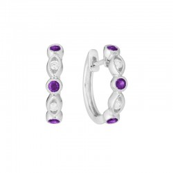 14K White Gold  Hinged Earrings with 6 Amethysts 0.24ctw and 4 Round Diamonds 0.08ctw