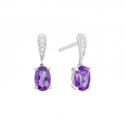 14K White Gold  Amethyst and Diamond Stud Drop Earrings, .02ct Diamonds