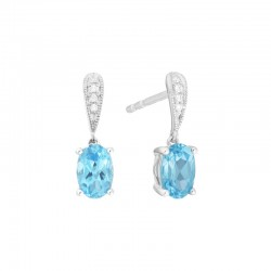 14K White Gold  Blue Topaz and Diamond Stud Drop Earrings, .02ct Diamonds