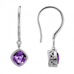 14K White Gold  Amethyst and Diamond Drop Earrings, .02ct Diamonds