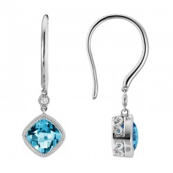 14K White Gold  Blue Topaz and Diamond Drop Earrings, .02ct Diamonds