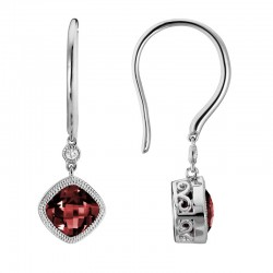 14K White Gold  Red Garnet and Diamond Drop Earrings, .02ct Diamonds