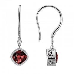 14K White Gold  Red Garnet and Diamond Drop Earrings, .02ct Diamonds
