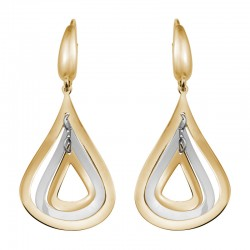 14K Yellow Gold W Gold Two Tone 3-Part Cut Out Teardrop Earrings