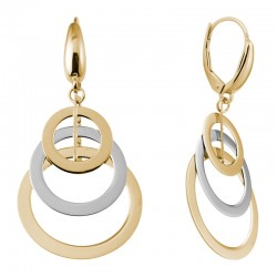 14K Two Tone Gold Overlapping Circles Dangle Earrings