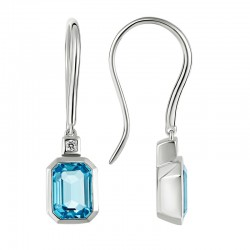 14K White Gold  Earrings with Emerald Cut Blue Topaz & 0.03ctw Diamonds