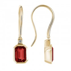 14K Yellow Gold  Earrings with Emerald Cut Garnets & 2 Round Diamonds 0.03ctw