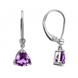 14K White Gold  Earrings with Trillion Amethysts & 2 Round Diamonds 0.02ctw