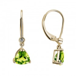 14K White Gold  Trillion Peridot Earrings with 2 Round Diamonds 0.02ctw