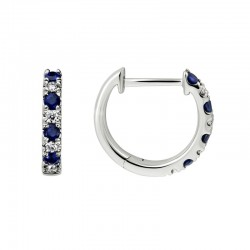 Lady's 14K White Gold  Huggie Earrings with 8 Round Sapphires & 8 0.11tw Round Diamonds