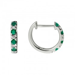 Lady's 14K White Gold  Huggie Earrings with 8 Round Emeralds & 8 0.11tw Round Diamonds