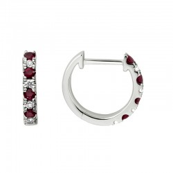 Lady's 14K White Gold  Huggie Earrings with 8 Round Rubies & 8 0.11tw Round Diamonds