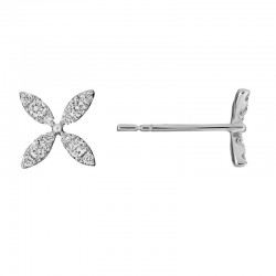 14K White Gold Four Petal Flower Stud Earrings with Round Diamonds 0.3ctw