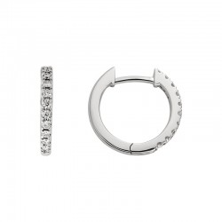 14K White Gold  Small Hoop Earrings with Round Diamonds 0.11ctw