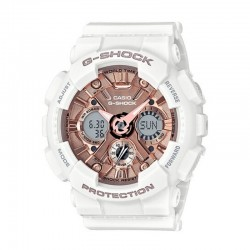 G-Shock Ladies' Watch SS Metallic Face, Resin Strap, Rose Dial