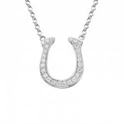 14K White Gold  Horseshoe Diamond Pendant with Round Diamonds 0.12ctw, on 16