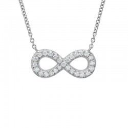 14K White Gold  Infinity Diamond Pendant with Round Diamonds 0.14ctw, on 16