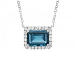 14K White Gold  Pendant w/Emerald Cut Deep Blue Swiss Topaz and Diamond Halo 0.19ctw