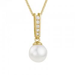 14K Yellow Gold  7.5mm Pearl and Diamond Pendant, 5 Round Diamonds .06ctw