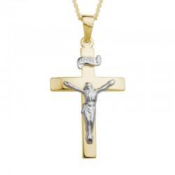 14KYW Crucifix Pendant