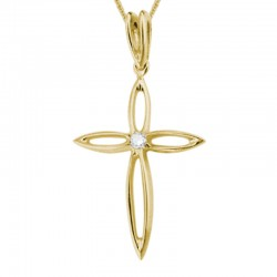 14KY Gold Palm Cross Pendant on Adjustable Chain 16