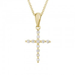 14KY Gold Diamond Cross Pendant 0.11ctw Round Diamonds on Adjustable Chain 16