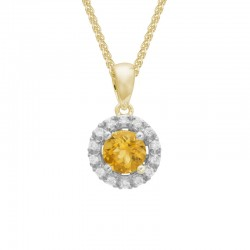 14K Yellow Gold Citrine and Diamond Halo Pendant on 14K Yellow Gold Wheat Chain, 0.10ctw