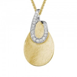 14KYW Gold Two Tone Diamond Loop Pendant with 0.9ctw Round Diamonds on 18