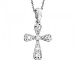 14KW Diamond Rounded Cross Pendant