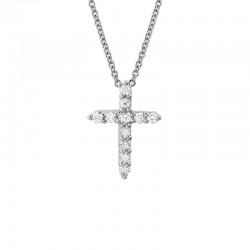 14K White Gold  Diamond Cross Pendant with 11 Round Diamonds 0.14ctw
