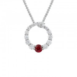 Lady's 14K White Gold   Circle Pendant with Round Ruby & 16 0.32tw Round Diamonds on 16