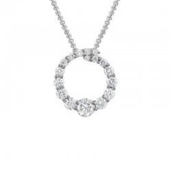 Lady'S 14K White Gold   Circle Pendant With 17 0.47Tw Round Diamonds On 16