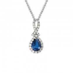 Lady's 14K White Gold  Pendant with Oval Sapphire & 0.13 Round Diamond Halo on 16