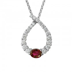 14K White Gold  Ruby & Diamond Pendant With 0.44Ct Oval Ruby, 19 Round Diamonds 0.49Ct, On 16