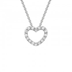 14K White Gold  Open Heart Diamond Pendant .09Ct Tw