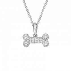 14K White Gold  Dog Bone Pendant with 0.12ctw Round Diamonds