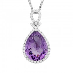 14K White Gold Amethyst Pendant with .26ctw Diamonds