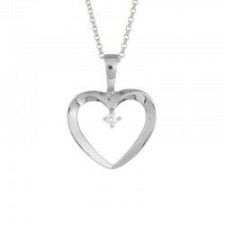 14K White Gold  Open Heart Diamond Pendant .02Ct