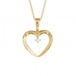 14K Yellow Gold  Heart Pendant with 0.02ctw Round Diamonds