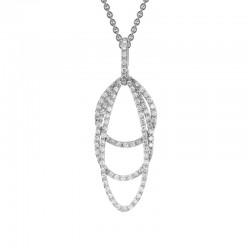 14K White Gold  Layered Teardrops Pendant with 0.40ctw Round Diamonds